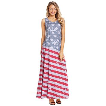 Z| Chicloth American Flag Print Sleeveless Maxi Dress