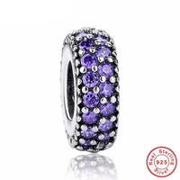 SPACER PURPLE Bead / Charm 925 Sterling Silver Authentic fit Pandora Bracelet
