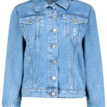 Laura Oversized Denim Boyfriend Jacket | Boohoo