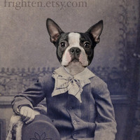 Boston Terrier Dog Art, Mixed Media Collage Print, Henry Portrait of a Boston Terrier,  Altered Victorian Photography