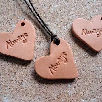 Heart Romantic Pendant, Aromatherapy Essential Scented Oil Diffuser Pendant, Terra cotta Bisque Ceramic Unglazed