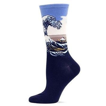 Hot Sox Katsushika Hokusai Great Wave Art Women's Crew Socks - Pale Purple