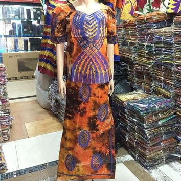 VONE2B5 2016 African Lady New Style Women Riche Bazin Print  Dress Embroidery Dashiki Half sleeves Design With Gele Colorful M2354-1