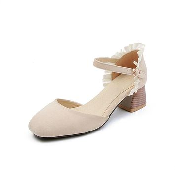 Ankle Strap Mid Heel Sandals Summer Shoes 5200