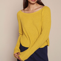 MUSTARD CROPPED KNIT SWEATER