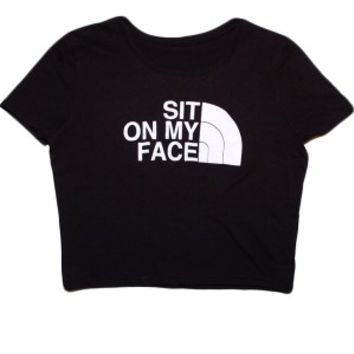 Women's Sit On My Face Crop Top - Black