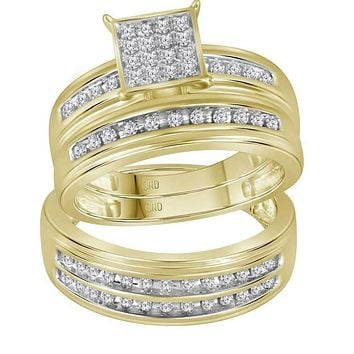 10kt Yellow Gold His & Hers Round Diamond Square Cluster Matching Bridal Wedding Ring Band Set 1/2 Cttw - FREE Shipping (US/CAN)