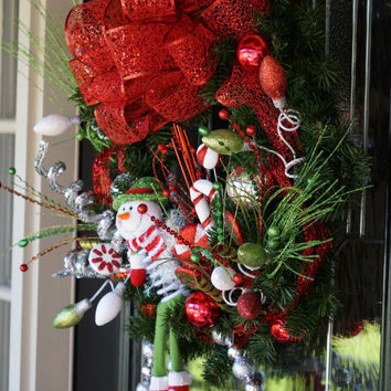 XLarge Whimsical Snowman Winter Wreath with Big Red Bow, Christmas Wreath, Winter Wreath, Christmas Decor, Candy Cane Wreath, Snowman Wreath