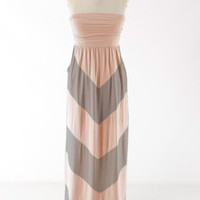 Queen Of Chevron Maxi Dress - Beige/Tan