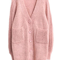 Pink V Neck Pockets Buttons Long Sleeve Cardigan