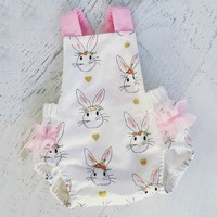 US Baby Girls Bunny Rabbit Summer Bib Romper Jumpsuit Bodysuit Clothes Outfits