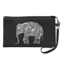 Customize Sparkly colourful silver mosaic Elephant Wristlet