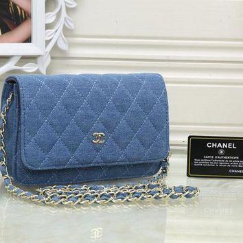 DCCKXT7 Chanel' Women Casual Fashion Personality Quilted Denim Metal Chain Single Shoulder Messenger Bag