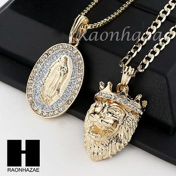 MEN ICED OUT GUADALUPE & LION PENDANT BOX CUBAN CHAIN DOUBLE NECKLACE SET SD07
