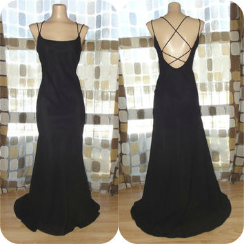 Vintage 90s 30s Black Open Cage Back Bias Harlow Gown Formal Dress Fishtail Hemline Gatsby
