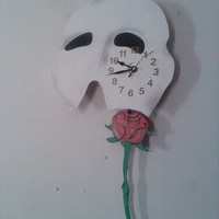 Phantom Of The Opera Pendulum Clock W/ Swinging Rose