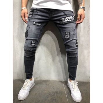 Patched Stonewashed and Distressed Jeans - Black