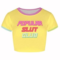 Popular Slut Club Crop Top Tee Shirt