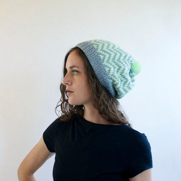 Mint Green & Gray  Knit Hat  Chevron  Knitted Hat by SourpussKnits