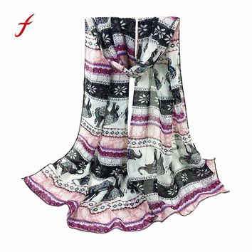 Feitong Quality Fashion Women Scarves Poncho Chiffon Printing Long Soft Girls Scarf Wrap Shawl Stole Pashmina Bandana Scarves