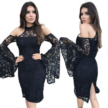 Crochet Black Party Dress with Wide Sleeves