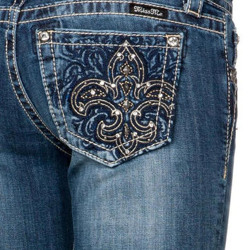 Miss Me Junior's Fleur De Lis Pocket Bootcut Jeans