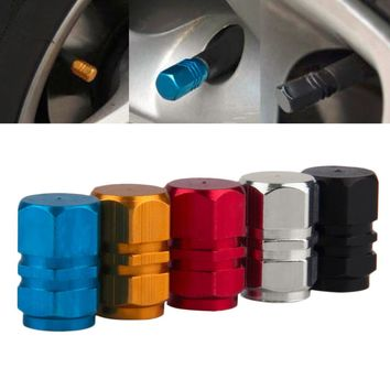 Universal 4 PCS Aluminum Auto Bicycle Car Tire Valve Caps Tyre Wheel Hexagonal Ventile Air Stems Cover Airtight rims Accessories