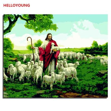 HELLOYOUNG Handpainted Oil Painting Jesus Shepherd Digital Painting by numbers oil paintings chinese scroll paintings Home Decor