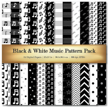 Music Digital Paper Digital Scrapbooking Paper Variety Black & White Notes Chevron Stripe Patterns - Commercial Use OK