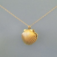 Mermaid, Shell, Locket, Photo, Gold, Necklace