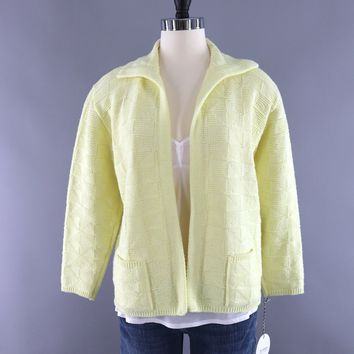 Vintage Pastel Yellow Knitted Cardigan Sweater