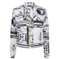X Anthony Vaccarello Monochrome Iconic Print Denim Jacket