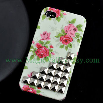 Vintage style Rose Flower Iphone 4S Case Floral by MagicValley