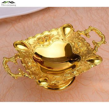 Luxury Elegant Shiny Gold Plated plate With Handle for Fruit/Dish/Dessert 21*7cm