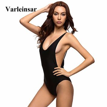 New Sexy Low Back Swim Suit For Women Swimwear One Piece Swimsuit Female Bather 2018 Bathing Suit Backless Monokini Lady V111