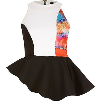 River Island Womens Black splice print asymmetric peplum top