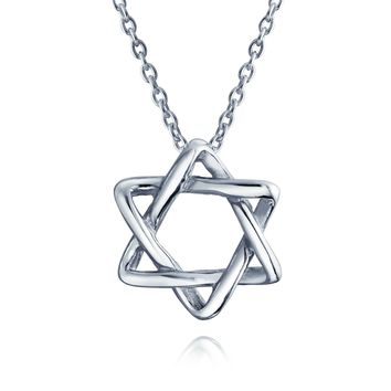 Star OF David Magen Je Intertwined Pendant Necklace Sterling Silver