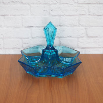 Blue Glass Candy Dish, Divided Serving Bowl, Sectioned Serving Tray // Art Deco Style