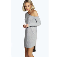 Irregular Strapless Long Sleeve One Piece Dress [6338692164]