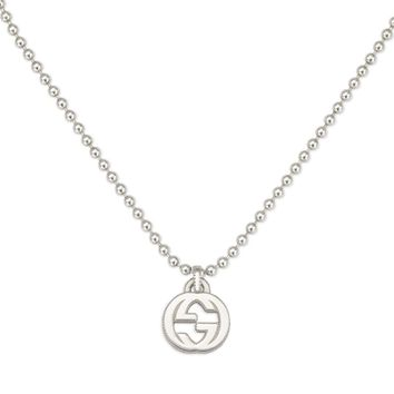 Gucci Interlocking G Small Textured Silver Pendant Necklace