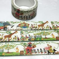 animal circus parade band washi tape 7M x 2cm safari animals party Africa animal Forest animal zoo animal elephant giraffe deco tape sticker