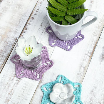Crochet doily set, 6 Color lace doilies, Set of cup coasters, Turquoise doily, Wedding table decor, Crochet coasters, Violet doily