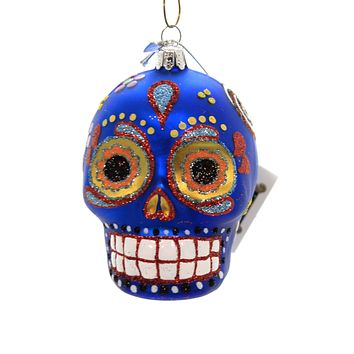 Noble Gems SUGAR SKULL ORNAMENT Glass Halloween Day Of The Dead Nb0830 Blue