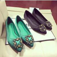 All-match Fashion Casual Female Silk Pointed Shallow Mouth Rhinestones Square Buckle Soft Flats Shoes Single Shoes Sandals Shoes