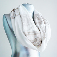 Handmade Embroidered lvory Chunky Infinity Scarf -Summer scarf-Cotton scarf-Shawl