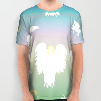 Angels Amongst The Clouds All Over Print Shirt by Kat Worth