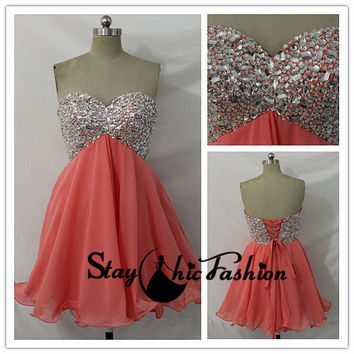 Coral Short Sparkly Top Strapless Empire Waist Homecoming Prom Dress