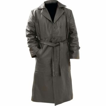 Solid Genuine Buffalo Leather Trench Coat