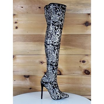 8ad1bc877cc Beverly Black Velvet Floral Gold Embroidered Silver Sequined OTK High Heel  Boots