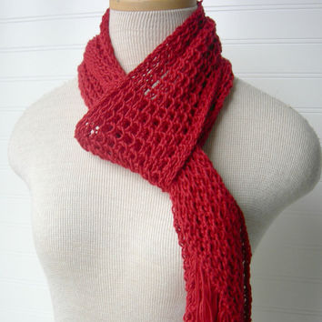 SALE Knit Lace Scarf in Scarlet Cherry Red by WindyCityKnits